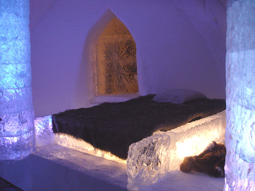 View of a Ice Hotel guest room